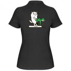 Женская футболка поло Вежливый кот - FatLine
