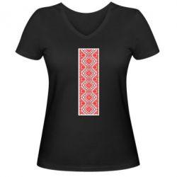 Женская футболка с V-образным вырезом Вишиванка - FatLine