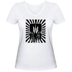 Женская футболка с V-образным вырезом Військо українське - FatLine
