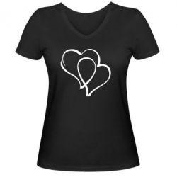 Женская футболка с V-образным вырезом Влюбленные сердца - FatLine
