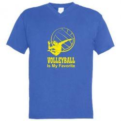 Мужская футболка  с V-образным вырезом Волейбол Is my favorite