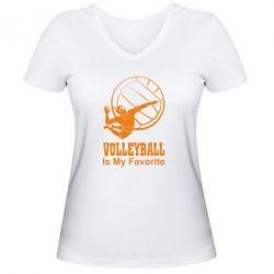 Женская футболка с V-образным вырезом Волейбол Is my favorite