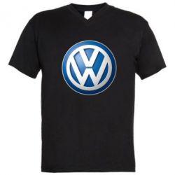 Мужская футболка  с V-образным вырезом Volkswagen 3D Logo - FatLine