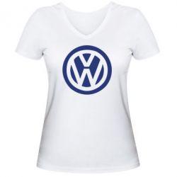 Женская футболка с V-образным вырезом Volkswagen - FatLine