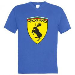 Мужская футболка  с V-образным вырезом Volvo Logo - FatLine