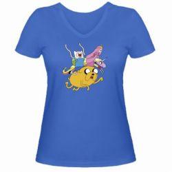 Женская футболка с V-образным вырезом Время Приключений - FatLine