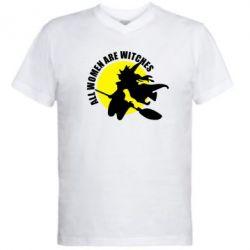 Мужская футболка  с V-образным вырезом Все женщины - ведьмы - FatLine