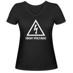 Женская футболка с V-образным вырезом Высокое напряжение! - FatLine