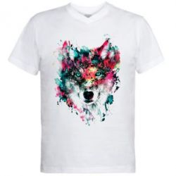 Женская футболка Watercolor Colorful Wolf