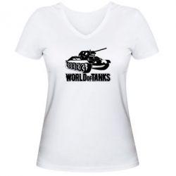 Женская футболка с V-образным вырезом World Of Tanks Game - FatLine
