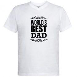 Мужская футболка  с V-образным вырезом World's Best Dad - FatLine