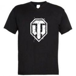 Мужская футболка  с V-образным вырезом WOT Logo - FatLine
