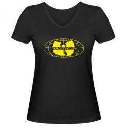 Женская футболка с V-образным вырезом Wu-Tang World - FatLine