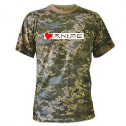 Камуфляжная футболка Я люблю Аниме - FatLine