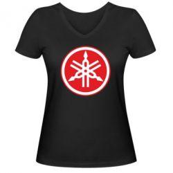 Женская футболка с V-образным вырезом Yamaha Big Logo - FatLine