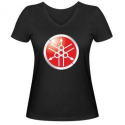 Женская футболка с V-образным вырезом Yamaha Logo 3D - FatLine