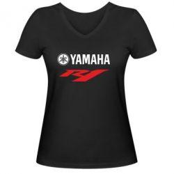 Женская футболка с V-образным вырезом Yamaha R1 - FatLine