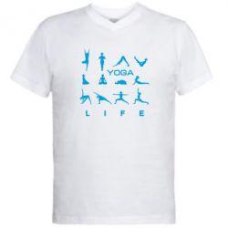 Мужская футболка  с V-образным вырезом Йога life 2