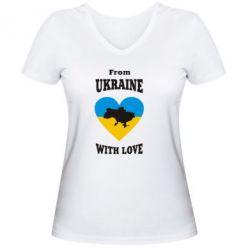 Женская футболка с V-образным вырезом З України з любовью - FatLine