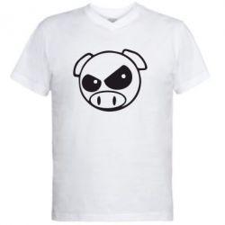 Мужская футболка  с V-образным вырезом Злая свинка - FatLine