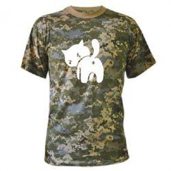 Камуфляжна футболка злий коте - FatLine