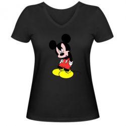 Женская футболка с V-образным вырезом Злой Микки Маус - FatLine