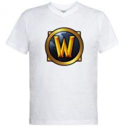 Мужская футболка  с V-образным вырезом Значок wow - FatLine