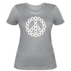 Женская футболка Знак мира из ромашек - FatLine