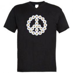Мужская футболка  с V-образным вырезом Знак мира из ромашек - FatLine