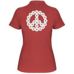 Женская футболка поло Знак мира из ромашек - FatLine