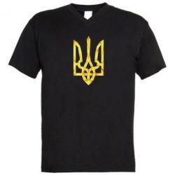 Мужская футболка  с V-образным вырезом Золотий герб - FatLine