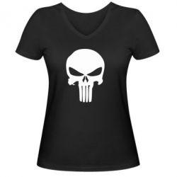 Женская футболка с V-образным вырезом Зубастый череп - FatLine