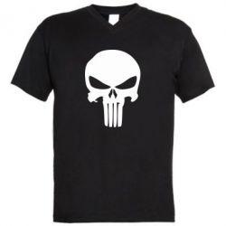 Мужская футболка  с V-образным вырезом Зубастый череп - FatLine