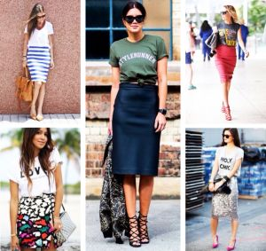 Как носить юбку с футболкой