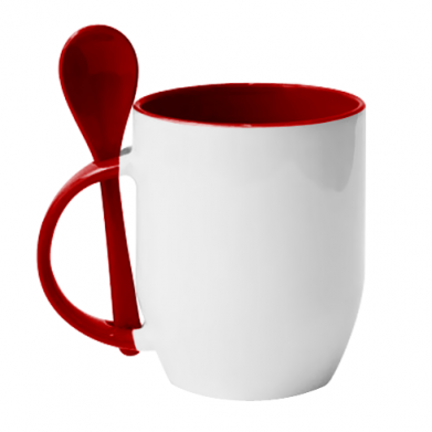 Цвет Красный, Кружки с керамическими ложками - FatLine