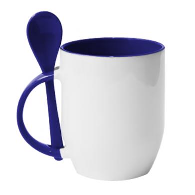 Цвет Синий, Кружки с керамическими ложками - FatLine