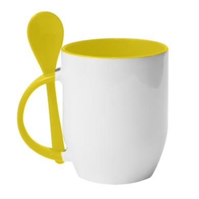 Цвет Желтый, Кружки с керамическими ложками - FatLine