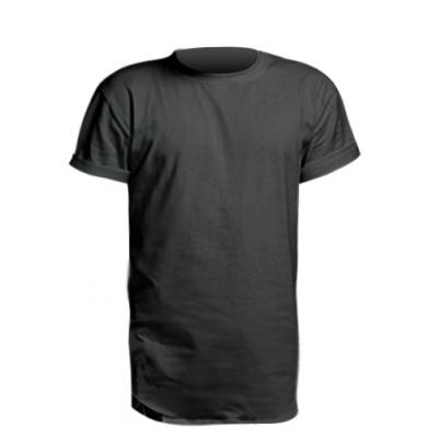 Цвет Черный, Удлиненные футболки - FatLine