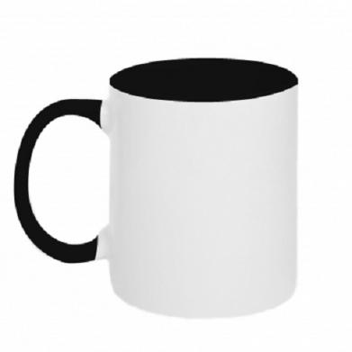 Цвет Черный+белый, Кружки двухцветные 320ml - FatLine