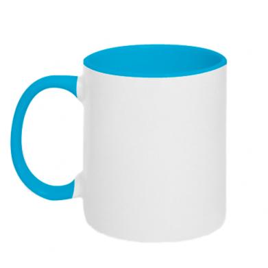 Цвет Голубой+белый, Кружки двухцветные 320ml - FatLine