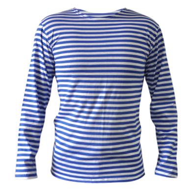 Цвет Белый в голубую полоску, Тельняшки с длинным рукавом - FatLine