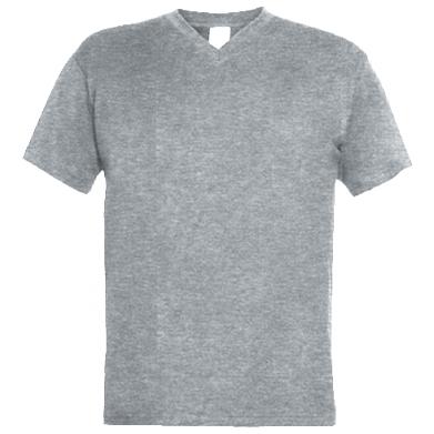 Цвет Серый, Мужские футболки с V-образным вырезом - FatLine