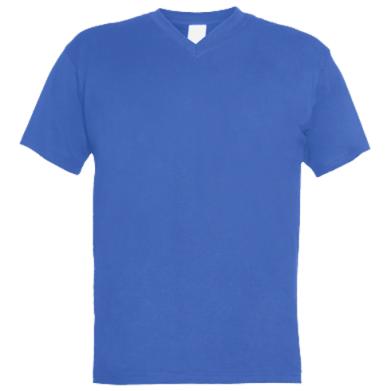 Цвет Синий, Мужские футболки с V-образным вырезом - FatLine