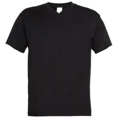 Цвет Черный, Мужские футболки с V-образным вырезом - FatLine