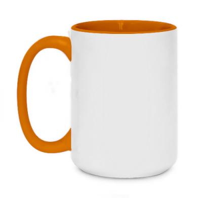 Цвет Оранжевый, Кружки двухцветные 420ml - FatLine