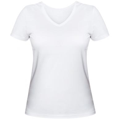 Цвет Белый, Женские футболки с V-образным вырезом - FatLine