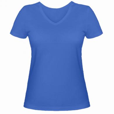 Цвет Синий, Женские футболки с V-образным вырезом - FatLine