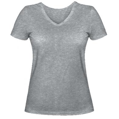 Цвет Серый, Женские футболки с V-образным вырезом - FatLine