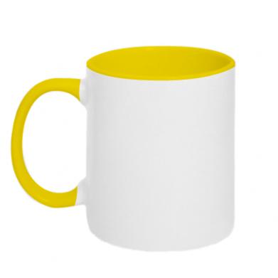 Цвет Желтый+белый, Кружки двухцветные 320ml - FatLine