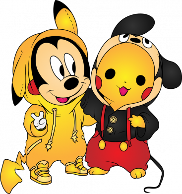 Принт Мужская толстовка Mickey and Pikachu, Фото № 1 - FatLine